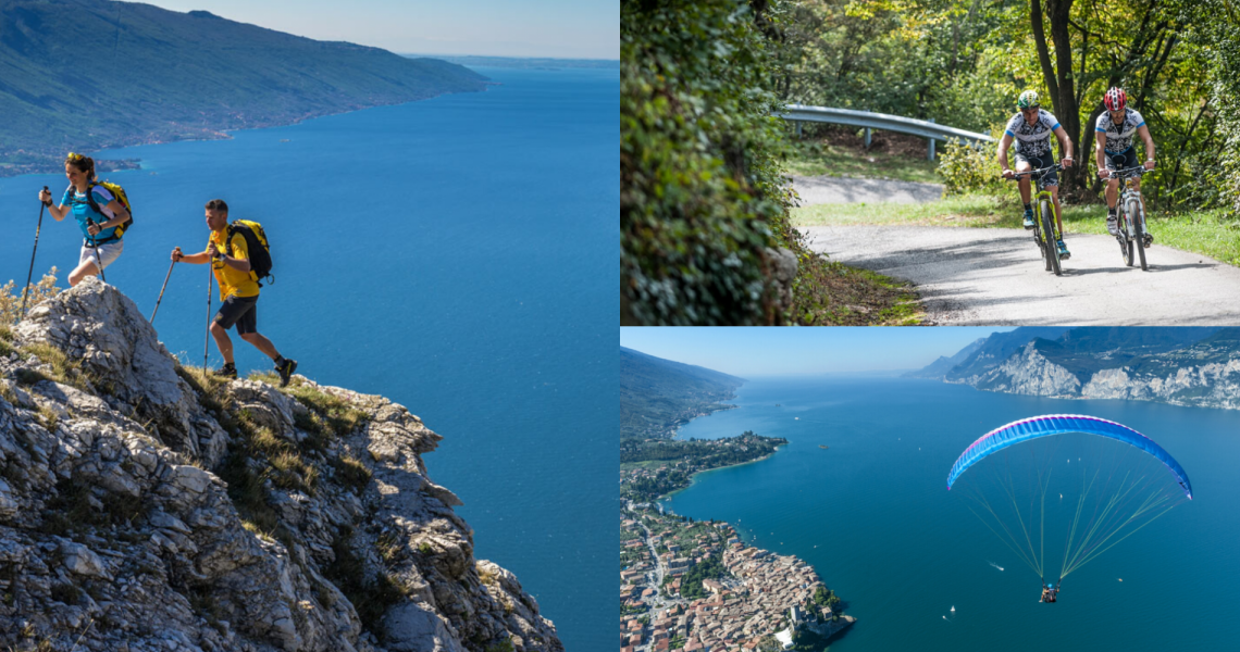 Three unmissable activities immersed in Malcesine's natural landscape: cycling, hiking and paragliding.